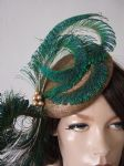 "Gold Green Peacock Fascinator Cocktail Hat Headpiece Hatinator ""Carrie"" for Royal Ascot, Mother of the Bride, Day at the Races. Kentucky Derby"